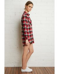 Forever 21 - Red Buffalo Plaid Shirt Dress - Lyst
