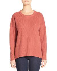 Madewell Orange 'bryn' Ribbed Pullover