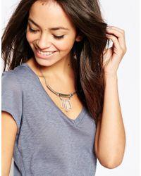 Pieces - Metallic Ifie Triple Crystal Drop Necklace - Lyst