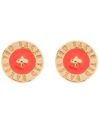 Ted Baker Orange Tempany Enamel Logo Earrings