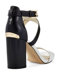 MICHAEL Michael Kors | Black Nadja Cross Strap Sandals | Lyst