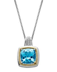 Lord & Taylor | Sterling Silver And 14 Kt. Yellow Gold Blue Topaz Pendant With Diamonds | Lyst