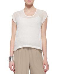 Eileen Fisher - White Linen Gauze Short Top - Lyst