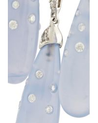 Fred Leighton Blue 18karat White Gold Chalcedony and Diamond Chandelier Earrings