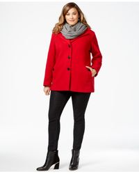 Calvin Klein | Brown Plus Size Wool-cashmere Blend Single-breasted Peacoat With Infinity Scarf | Lyst