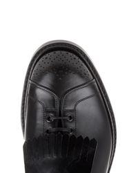 Cerruti 1881 Black Fringed-buckle Leather Shoes for men