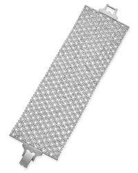 Lauren by Ralph Lauren | Metallic Silver-Tone Crystal Mesh Wide Bracelet | Lyst