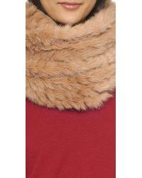 Diane von Furstenberg Natural Fur Cable Knit Scarf - Camel