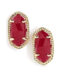 Kendra Scott | Red 'ellie' Oval Stone Stud Earrings - Maroon Jade/ Gold | Lyst