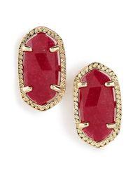 Kendra Scott - Red 'ellie' Oval Stone Stud Earrings - Maroon Jade/ Gold - Lyst