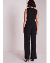 Missguided - Button Detail Plunge Jumpsuit Black - Lyst