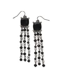 Ralph Lauren | Black Faceted Triple-drop Earrings | Lyst