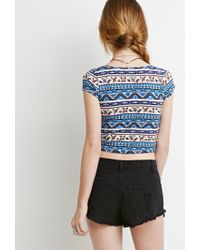 Forever 21 | Blue Floral Print Crop Top You've Been Added To The Waitlist | Lyst