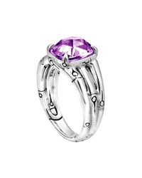 John Hardy - Metallic Small Bamboo Silver Ring with Octagon Amethyst - Lyst