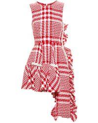 Simone Rocha Red Asymmetric Tweed Dress