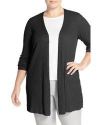 Eileen Fisher - Black Organic Linen & Cotton Long Slim Cardigan - Lyst
