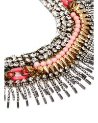 Venna - Multicolor Crystal Spike Fringe Collar Necklace - Lyst