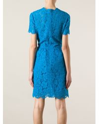 Valentino Blue Floral Lace Dress