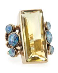Stephen Dweck | Metallic Lemon Quartz Opal Mosaic Bead Ring | Lyst