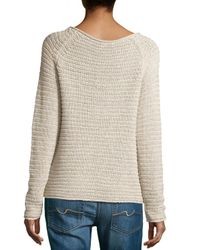Halston - Multicolor Textured Knit Raglan Sweater - Lyst