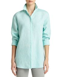 Lafayette 148 New York - Multicolor Sabira Linen Long-sleeve Blouse - Lyst