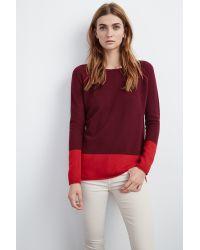 Velvet By Graham & Spencer - Red Marvella Colorblock Cashmere Sweater - Lyst