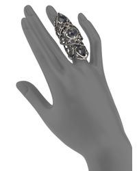 Stephen Webster - Metallic Grey Cat'S Eye Doublet & Sterling Silver Knuckle Ring - Lyst