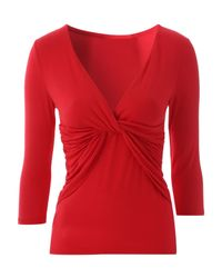 Jane Norman | Red 3 /4 Sleeve Twist Jersey | Lyst
