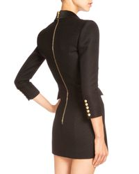 Balmain - Black Pique-knit Double-breasted Blazer Dress - Lyst
