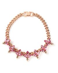 Mawi - Pink Crystal Leaf And Spike Necklace - Lyst