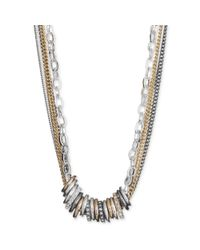 Nine West | Metallic Tritone Pave Rondelle Multichain Necklace | Lyst
