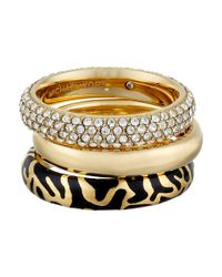 Michael Kors | Metallic Gold-tone Pavé And Square-cut Crystal Crisscross Ring | Lyst
