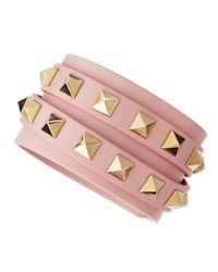 Valentino | Multistrand Leather Wrap Bracelet Bracelet Pink | Lyst