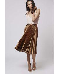 TOPSHOP - Metallic Foil Pleated Midi Skirt - Lyst