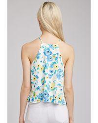 Forever 21 - Blue Floral Print Halter Cami - Lyst