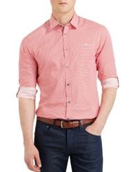 Ted Baker | Red Thewolf Micro Tile Slim Fit Button Down Shirt for Men | Lyst