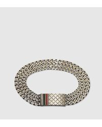 Gucci | Metallic Chain Bracelet With Diamante Motif Engraved Tag for Men | Lyst