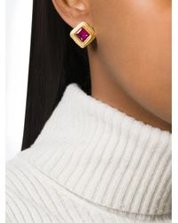 Louis Feraud Vintage | Metallic Square-shaped Earrings | Lyst