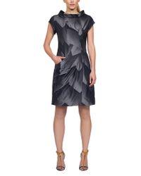 James Lakeland Gray Geometric Taffeta Dress