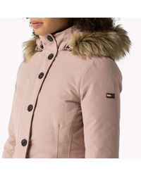 Tommy Hilfiger | Pink Cotton Blend Down Parka | Lyst