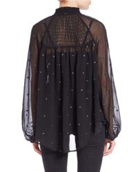 Free People | Black Embroidered Peasant Top | Lyst