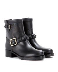 Valentino - Black Lock Leather Biker Boots - Lyst
