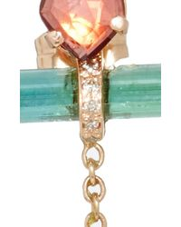 Jacquie Aiche - Freeform Pink Tourmaline Pave Green Tourmaline Bar 2 Diamond Bezel Chain Earrings - Lyst