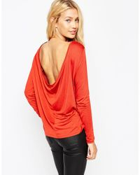 ASOS | Red The Scoop Back Top With Long Sleeves | Lyst