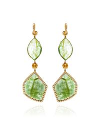 Mark Cross | Green Emerald Slice and Rough Diamond Earrings | Lyst