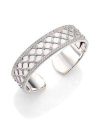Jude Frances | Metallic Soho White Topaz & Sterling Silver Small Lattice Cuff Bracelet | Lyst