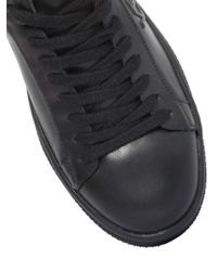 KENZO - Black Logo Leather Sneakers - Lyst