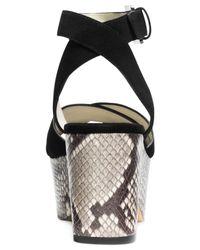 Michael Kors | Black Michael Ariel Platform Wedge Sandals | Lyst