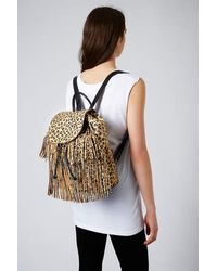 TOPSHOP - Black Premium Leopard Pony Backpack - Lyst