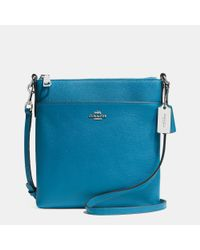 COACH - Blue North/south Swingpack In Embossed Textured Leather - Lyst